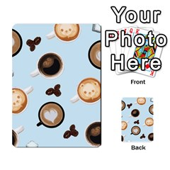 Cute Coffee Pattern On Light Blue Background Multi Purpose Cards (rectangle)