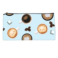Cute Coffee Pattern On Light Blue Background Pencil Cases by LovelyDesigns4U