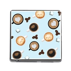 Cute Coffee Pattern On Light Blue Background Memory Card Reader (square) by LovelyDesigns4U