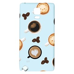 Cute Coffee Pattern On Light Blue Background Galaxy Note 4 Back Case by LovelyDesigns4U