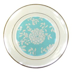 Aqua Blue Floral Pattern Porcelain Plates by LovelyDesigns4U