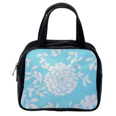 Aqua Blue Floral Pattern Classic Handbags (one Side) by LovelyDesigns4U