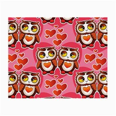Cute Owls In Love Small Glasses Cloth by LovelyDesigns4U