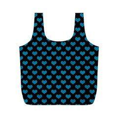 Blue Hearts Valentine s Day Pattern Full Print Recycle Bags (m)  by LovelyDesigns4U