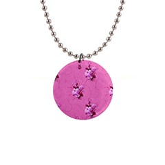 Pink Floral Pattern Button Necklaces