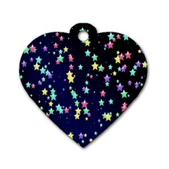 Pretty Stars Pattern Dog Tag Heart (two Sides)