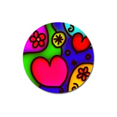 Colorful Modern Love 2 Magnet 3  (round) by MoreColorsinLife