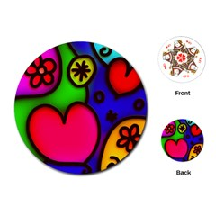 Colorful Modern Love 2 Playing Cards (round)  by MoreColorsinLife