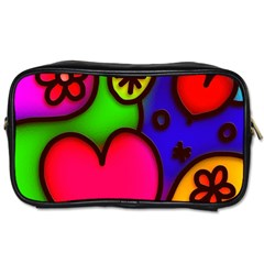 Colorful Modern Love 2 Toiletries Bags 2 Side by MoreColorsinLife