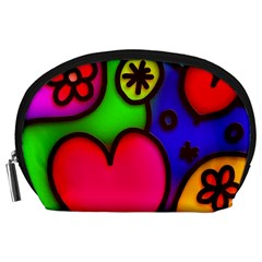 Colorful Modern Love 2 Accessory Pouches (large)  by MoreColorsinLife