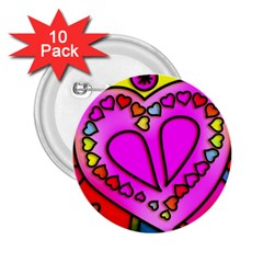 Colorful Modern Love 2 25  Buttons (10 Pack)  by MoreColorsinLife