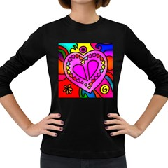 Colorful Modern Love Women s Long Sleeve Dark T Shirts by MoreColorsinLife