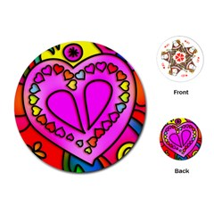 Colorful Modern Love Playing Cards (round)  by MoreColorsinLife
