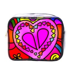 Colorful Modern Love Mini Toiletries Bags by MoreColorsinLife