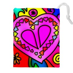 Colorful Modern Love Drawstring Pouches (xxl) by MoreColorsinLife