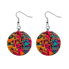 Colorful Shapes 1  Button Earrings by LalyLauraFLM