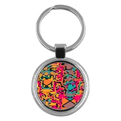 Colorful Shapes Key Chain (round) by LalyLauraFLM