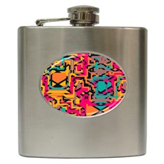 Colorful Shapes Hip Flask (6 Oz) by LalyLauraFLM