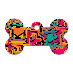 Colorful Shapes Dog Tag Bone (two Sides) by LalyLauraFLM