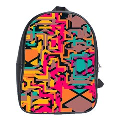 Colorful Shapes School Bag (large) by LalyLauraFLM