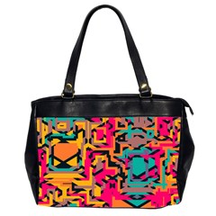 Colorful Shapes Oversize Office Handbag (2 Sides) by LalyLauraFLM