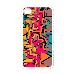 Colorful Shapes Apple Iphone 4 Case (white) by LalyLauraFLM