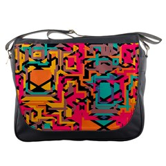 Colorful Shapes Messenger Bag by LalyLauraFLM