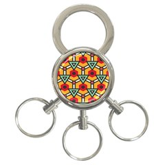 Triangles And Hexagons Pattern 3 Ring Key Chain