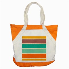 Rhombus And Retro Colors Stripes Pattern Accent Tote Bag by LalyLauraFLM