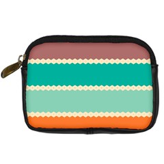 Rhombus And Retro Colors Stripes Pattern Digital Camera Leather Case by LalyLauraFLM
