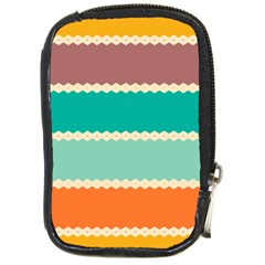 Rhombus And Retro Colors Stripes Pattern Compact Camera Leather Case by LalyLauraFLM