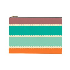 Rhombus And Retro Colors Stripes Pattern Cosmetic Bag (large) by LalyLauraFLM