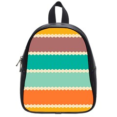 Rhombus And Retro Colors Stripes Pattern School Bag (small) by LalyLauraFLM