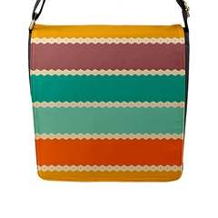 Rhombus And Retro Colors Stripes Pattern Flap Closure Messenger Bag (l) by LalyLauraFLM