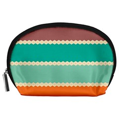 Rhombus And Retro Colors Stripes Pattern Accessory Pouch
