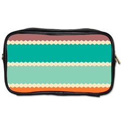 Rhombus And Retro Colors Stripes Pattern Toiletries Bag (two Sides)