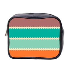 Rhombus And Retro Colors Stripes Pattern Mini Toiletries Bag (two Sides)