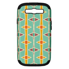 Rhombus Pattern In Retro Colors 			samsung Galaxy S Iii Hardshell Case (pc+silicone) by LalyLauraFLM