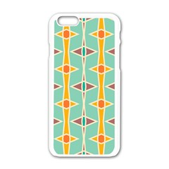 Rhombus Pattern In Retro Colors 			apple Iphone 6/6s White Enamel Case by LalyLauraFLM