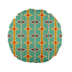 Rhombus Pattern In Retro Colors  	standard 15  Premium Flano Round Cushion by LalyLauraFLM