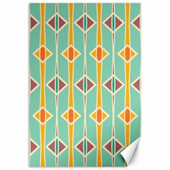 Rhombus Pattern In Retro Colors 			canvas 12  X 18  by LalyLauraFLM