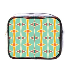 Rhombus Pattern In Retro Colors 			mini Toiletries Bag (one Side) by LalyLauraFLM