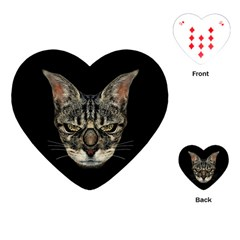 Angry Cyborg Cat Playing Cards (heart)  by dflcprints