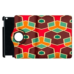Distorted Shapes In Retro Colors			apple Ipad 3/4 Flip 360 Case by LalyLauraFLM