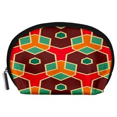 Distorted Shapes In Retro Colors Accessory Pouch by LalyLauraFLM