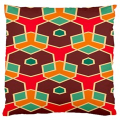 Distorted Shapes In Retro Colors 	large Flano Cushion Case (two Sides) by LalyLauraFLM