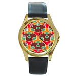 Distorted shapes in retro colors			Round Gold Metal Watch Front