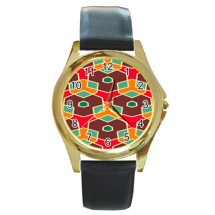 Distorted shapes in retro colors			Round Gold Metal Watch