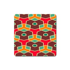 Distorted Shapes In Retro Colors			magnet (square) by LalyLauraFLM