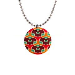 Distorted Shapes In Retro Colors			1  Button Necklace by LalyLauraFLM